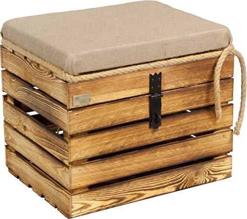 Kistenbaron Große Holzkiste mit Deckel Sitzfläche - 50x40x44cm - Natur Weiß Geflammt - Aufbewahrung l Allzweck-Kiste