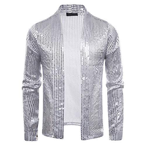 ZZOU Nightclub Fancy Dress Dance Costume Tops Casual Cardigan Fashion Mens Metallic Sequined Disco Shining Shirt Long Sleeve Button Down Hollow out Tops Men's Nightclub Sequined Cardigan