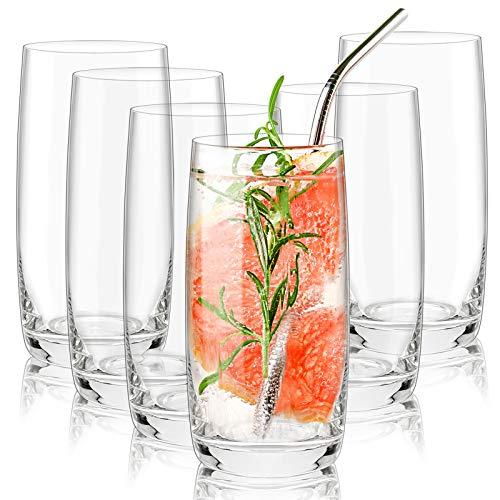 CREATIVELAND Crystal Highball Glasses Set of 6. LEAD-FREE Crystal Heavy...