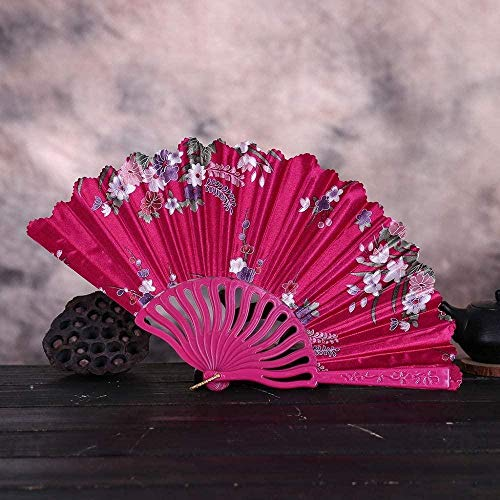 Opvouwbare ventilator,mode Vintage Kant Chinese Stijl Dans Bruiloft Handfans Feestjurk Accessoires Rozerood Opvouwbaar Zomer Held Flowers Fan