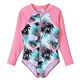 HUAANIUE Mädchen Badeanzug Ärmeln Bademode Bikini Baby Kinder Badekleidung für Schwimmen Schwimmsportbekleidung UPF 50+ UV-Schutz 4-11 Jahre
