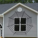 Chnrong Halloween Decoration Spider Web, White/Black Woolen Yarn Scary Halloween Decoration Fake Spider Web Props, Elastic Spider Web for Outdoor Windows and Courtyard Decoration 9 Turns 11.8ft