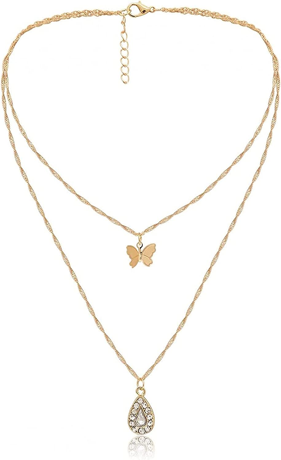 JIAW Necklaces Necklace Ins European and American Butterfly Three-Dimensional Necklace Female Drop-Shaped Zircon Double-Layer Necklace Birthday Gift Valentine's Day Gift