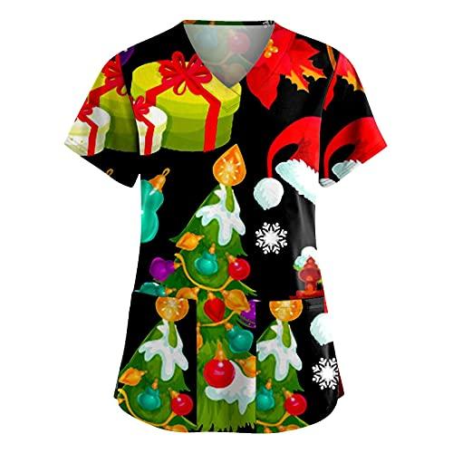 Kasacks - Camiseta de manga corta para mujer con diseo de Navidad, con bolsillos, cuello en V, ropa de trabajo, uniforme de enfermera, A01 verde., XL