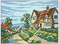 Stamped Cross Stitch Kits for Beginner 11CT Stamped Cross Stitch Embroidery Sets Villa LandscapeHandicraft Cross-Stitch Supplies Needlework Gift for Home Decor-16x20 inch