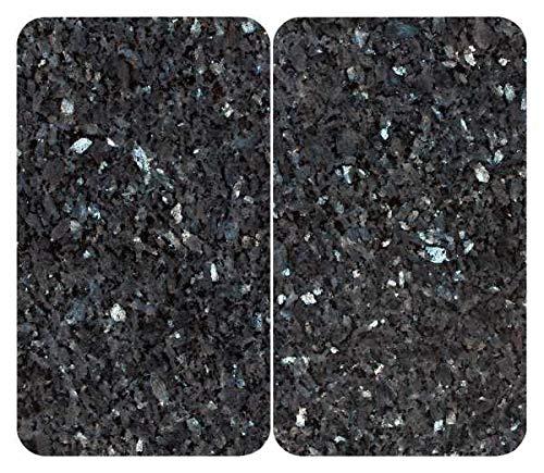 WENKO Herdabdeckplatte Universal Blauer Marmor, 2er Set Herdabdeckung für alle Herdarten, Gehärtetes Glas, 30 x 52 cm, mehrfarbig