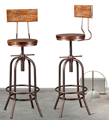 Industrial Bar Stool-Adjustable Swivel Round Wood Metal Kitchen Stool-28-34 Inch Rustic Farmhouse-Counter Height Extra Tall Bar Height Stool,Arc-Shaped Backrest,Welded,Set of 2