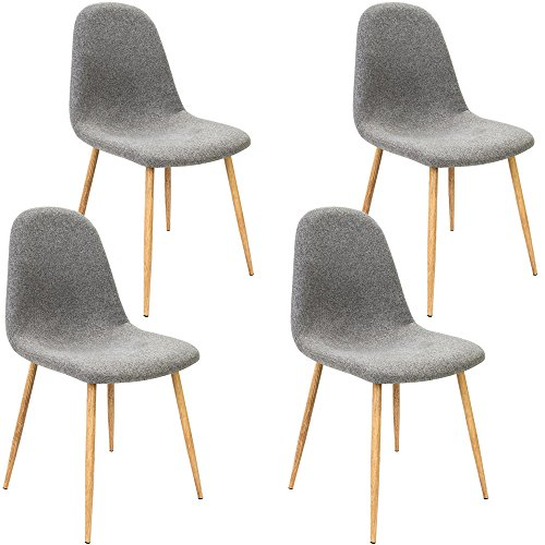 Deuba 4 x Esszimmerstuhl Küchenstuhl Polsterstuhl Design Stuhl mit Rückenlehne hellgrau 4er Set Esszimmerstühle