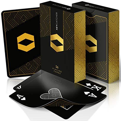 AEY Catcher® Spielkarten Poker (Geschenk für Männer) - Luxe Edition - Pokerkarten in Schwarz Gold - 100% Perfektes Handling - Zauber Karten Deck (Premium Qualität)