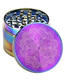 CANNANBMALL Herb Grinder 4 Piece Grinder Zinc Alloy Spice Grinder 2.2 Inch Rainbow Mandala Colorful Metal Grinders with Mesh Screen Bonus Scraper and Cleaning Brush (2.2 inch, Rainbow)