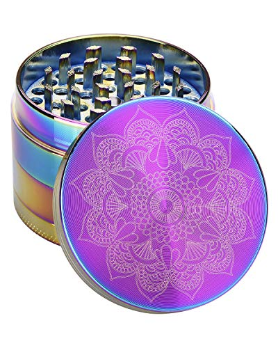 CANNABMALL Herb Grinder 4 Piece Grinder Zinc Alloy Spice Grinder 2.2 Inch Rainbow Mandala Colorful Metal Grinders with Mesh Screen Bonus Scraper and Cleaning Brush (2.2 inch, Rainbow)