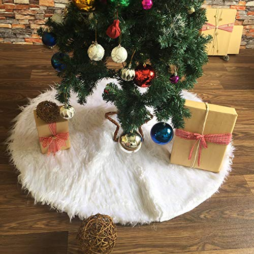 ShiyiUp Weiß Weihnachtenbaum Rock Plüsch Weihnachtsbaumdecke Weihnachtsbaum Dekoration Xmas Ornamente