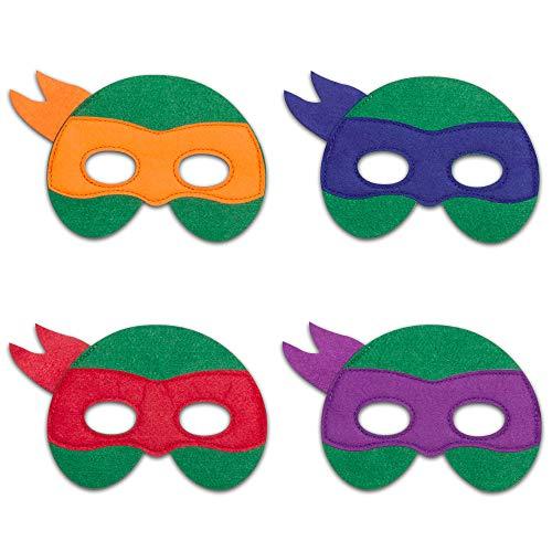 Ninja Turtle Masks Felt Masks Ninja Turtles Party Supplies Super Hero Cosplay Birthday Favors (4 PCS Ninja Turtle) Green