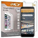 REY 3X Protector de Pantalla para Nokia C2 TENNEN - C2 TAVA, Cristal Vidrio Templado Premium