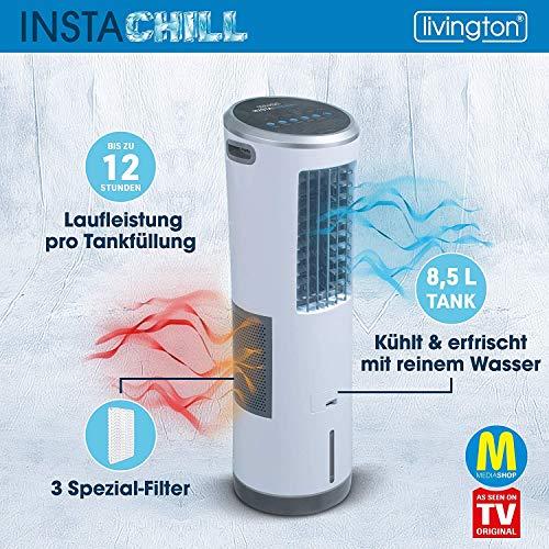 Livington InstaChill – Klimagerät mit Verdunstungskühlung – mobiles Klimagerät mit 3 Stufen – Klimagerät ohne Abluftschlauch 12h Kühlung mit 8,5 L Tank - 3