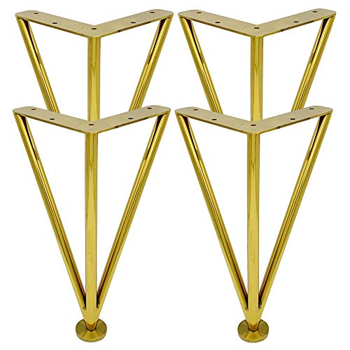 10'/25cm 3 Varillas Altura Ajustable Patas de Muebles de Metal,Dorado Acero Inoxidable Horquilla Repuesto Patas,para Gabinete Sofá Mesa de Centro (Juego de 4/Incluidos Tornillos)