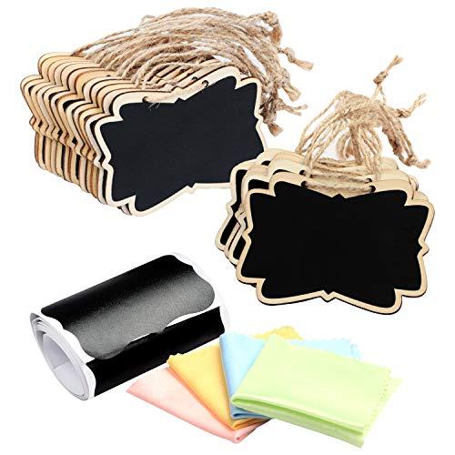 Belle Vous Mini Cartel Pizarra de Madera Colgante con Etiquetas Negras y Paño de Limpieza (Pack de 28) - Pizarra Negra Rectangular Pequeña Etiquetas para Alimentos, Bodas, Fiestas y Eventos
