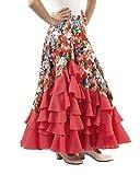 Anuka Falda de NIÑA para Baile Flamenco o sevillanas con Mucho Vuelo, 5 Volantes en Cascada, con Flores Estampadas. (Coral/salmón, 12 años)