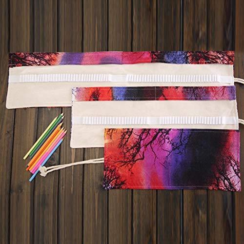 bkls 48 Ranuras Sunset Tree Print Pen Bag Canvas Pencil Wrap Cortina Roll Up Estuche para lápices Estuche para papelería