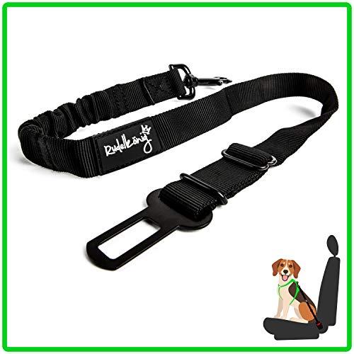 Rudelkönig Hundesicherheitsgurt fürs Auto - elastischer Anschnallgurt - stufenlos einstellbar - für alle Hunderassen & Autotypen (60-80 cm, Schwarz)
