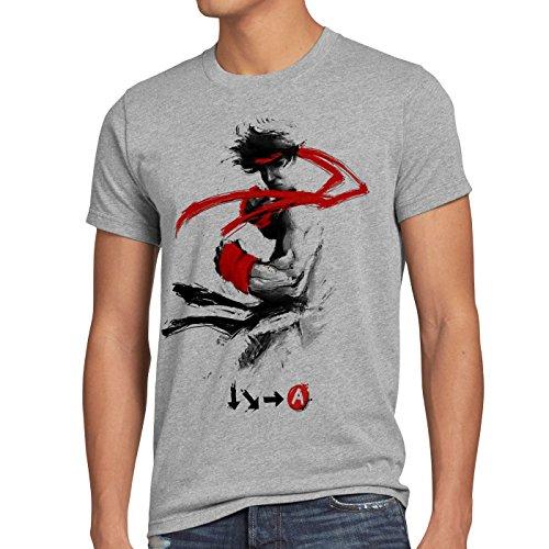 style3 Childhood Hero Fighter T-Shirt Herren final SNES ps ps2 ps3 Street Beat em up Arcade, Größe:XXL, Farbe:Grau meliert