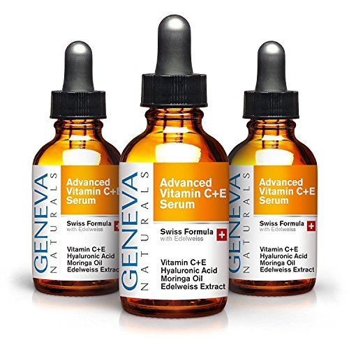 Vitamin C Serum 3-Pack - Anti Aging Swiss Skin Care Formula with Hyaluronic Acid, Vitamin A and E - Facial Moisturizer & Wrinkle Tightening - Collagen Rejuvenating & Firming - For Men and Women - 3oz