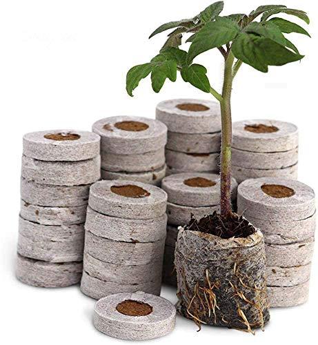 FDCAI Anzuchterde,Kokos Quelltabletten Mit Nährstoffen, Komprimierte Peat Pellet Faserboden Pflanzensammen Starters, Saatgutdünger Nährstoffblock Komprimierter Torfblock (100pcs)