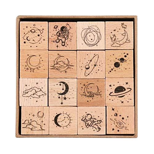 Holzstempel, Hölzern Stempel Set Für Die Herstellung Von Karten, Kunsthandwerk Und Diy Scrapbooking (16 Stück)