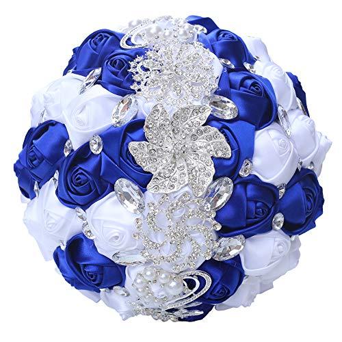Handmade Romantic Wedding Bouquet Bridal Holding Bouquets Bride Bridesmaid Bouqeut Wedding Decoration Silk Flowers with Rhinestone Decor (Royal Blue+White)
