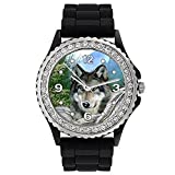 Timest - Lobo Indio - Reloj de Silicona Negro para Mujer con piedrecillas Analógico Cuarzo...