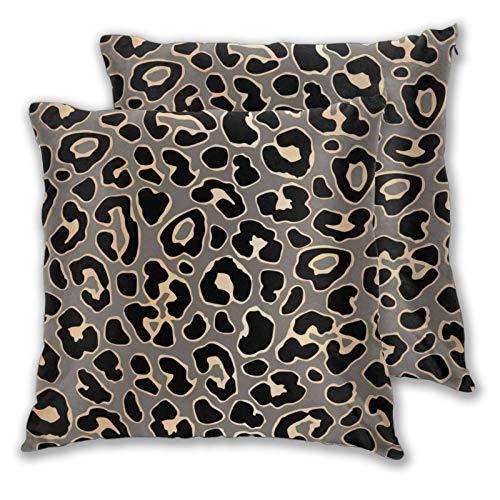 Juego de 2 fundas de almohada cuadradas de leopardo sin costuras en oro de lujo y Vector Home Decorativas suaves fundas de cojín para dormitorio, sofá sala de estar 45,7 x 45,7 cm