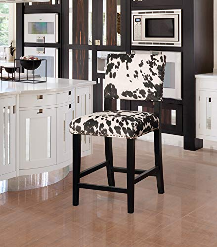 Linon Clayton Black Cow Print Counter Stool