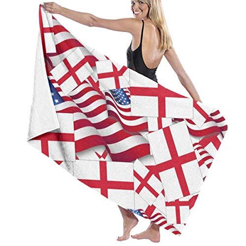 If Not Bandera de Inglaterra con Bandera de América Toalla de Playa Toalla de baño De Gran tamaño Suave para Uso Diario Deportes al Aire Libre Viajes Nadar