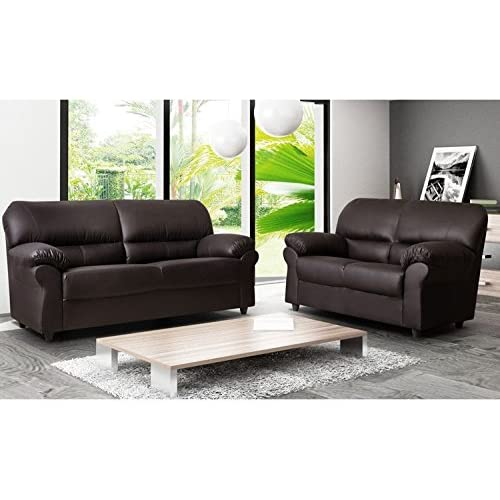 cef5aad39fa9 SOFASANDMORE CANDY 3+2 FAUX LEATHER SOFA SUITE IN BROWN