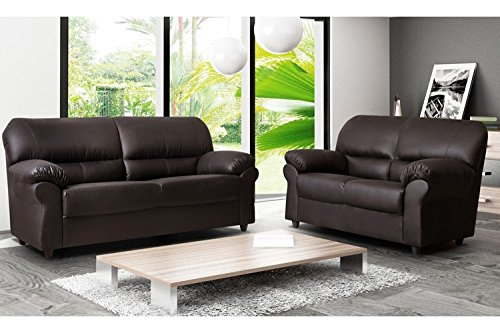 Sofas and More CANDY 3+2 SEATER SOFA SUITE BROWN LEATHER