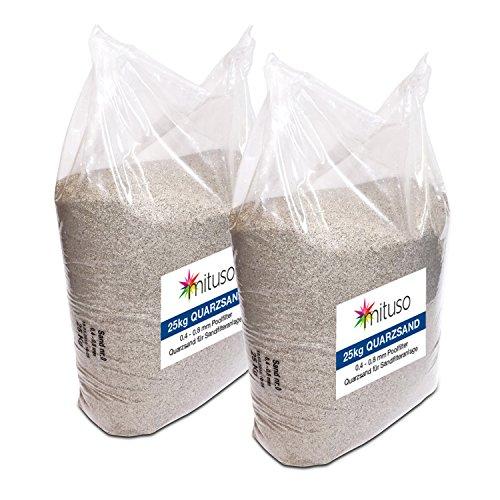 Mituso Quarzsand für Sandfilteranlage, 2er Pack (2 x 25kg)