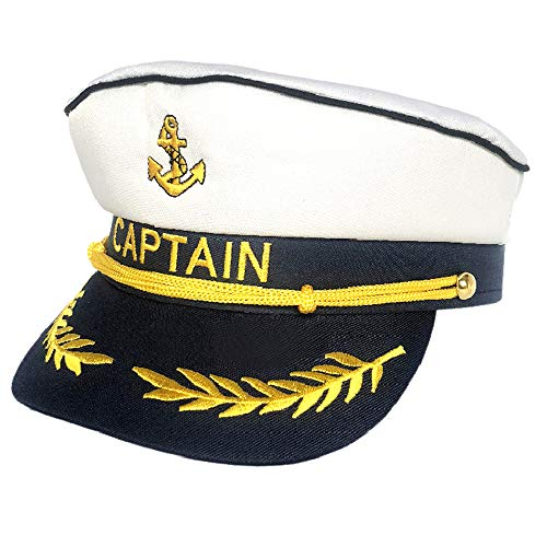 Teens Admiral Captain Hat Snapback Embroidery Anchor Skipper Nautical Party Hats (White 3)
