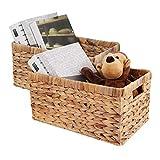 WJ eTrade Cestas de almacenamiento, cestas de mimbre para el baño en casa, cestas de jacinto de agua tejidas a mano para organizar, juego de 2