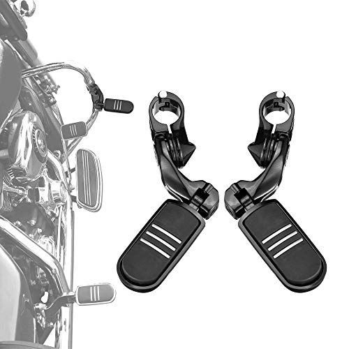 Black Highway Pegs, 1 1/4-Inch Highway Bar Footpegs for Electra Glide Road King Street Glide Engine Guard Bar Foot Rests
