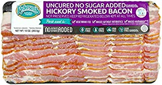 Pederson's Natural Farms, Hickory Smoked No Sugar Uncured Bacon (10 Individual Packages) – Whole 30 Approved, Keto Diet, Paleo Diet, Nitrite and Nitrate Free, Sugar Free Bacon