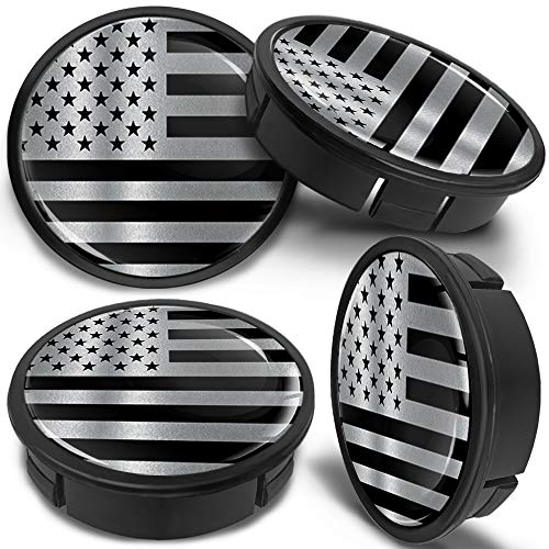 SkinoEu 4 x 60mm ABS Car Alloy Wheel Centre Universal Rims Hub Center Caps Auto Tuning Logo Emblem Silver Black USA Flag CX 16