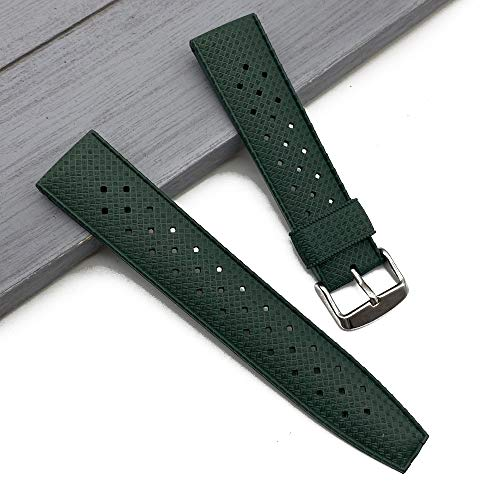 AYGANG Correa Reloj,Watch Straps Correa de Reloj de Goma de Grado Premium 20 mm 22 mm Reloj de Reloj Buceo Buceo Impermeable Pulsera Color Negro (Band Color : Green, Band Width : 22mm)