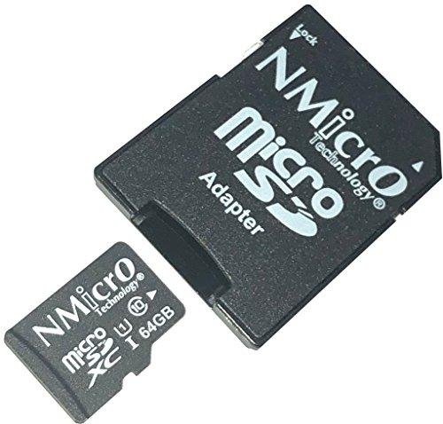 NMicro 64Go Carte mémoire MicroSD 64G 64GB UHS-1 Classe 10 UHS TF microSDXC SDXC T-Flash Lecture Allant jusqu'à 88MB/S avec Adaptateur microSD