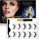 isinlive Magnetic Eyelashes With Eyeliner 5 Style Upgraded 3D Magnetic Eyeliner Eyelashes Kit With Tweezers Inside, Reusable and No Glue Needed (5 Pairs)