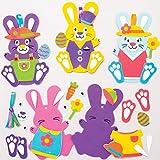 Baker Ross Décorations Lapins Mousse à Assortir (Paquet de 8) -Loisirs créatifs de Pâques pour Enfants, AT399
