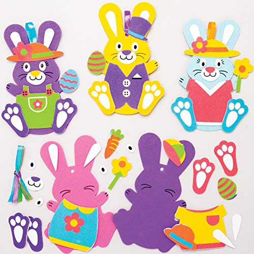 Baker Ross AT399 Easter Bunny Mix & Match Ornaments Kits - Pack of 8, Ideal For Kids' Arts And Crafts, Educational Toys, Gifts, Keepsakes