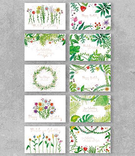 PremiumLine Geburtstagskarten Set 10 Stück inkl. Briefumschlag Glückwunschkarte Happy Birthday Grußkarte Pflanzen Blumen Flora 11,5 x 17,5 cm umweltfreundliche Klappkarte aus Naturkarton