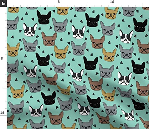 Spoonflower Fabric - Frenchie Mint French Bulldog Dogs Breeds Cute Pet Printed on Upholstery Velvet Fabric by The Yard - Upholstery Home Decor Bottomweight Apparel