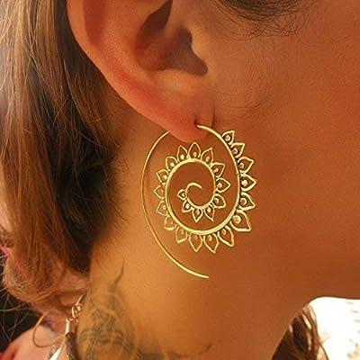grandes boucles d'oreilles en laiton spirale - boucles d'oreilles tribales - boucles d'oreilles ethniques - boucles d'oreilles déclaration