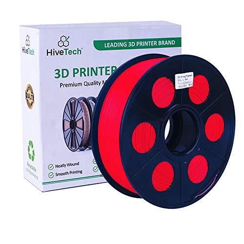 HiveTech 3D Printer PLA Filament 1.75mm 1kg (2.2lbs) - 3D Printer Filament Spool High Dimensional Accuracy of +/- 0.02mm (RED)